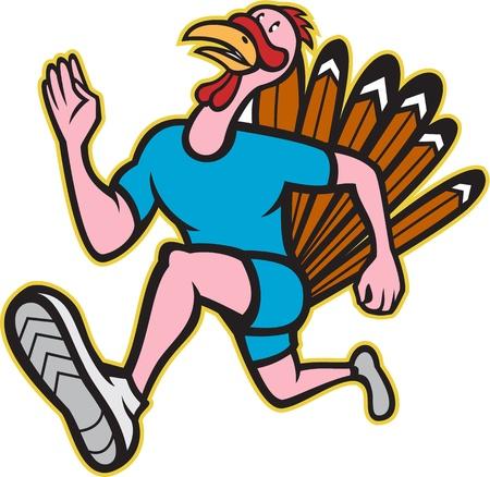 Illustration eines wilden Türkei laufen Trab laufen Läufer von der Seite betrachtet