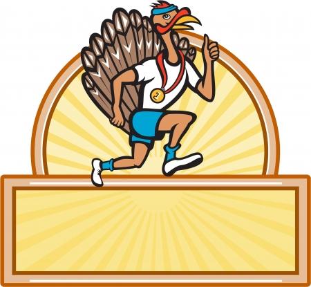 runner up: Illustration of a wild turkey run trot running runner thumbs up