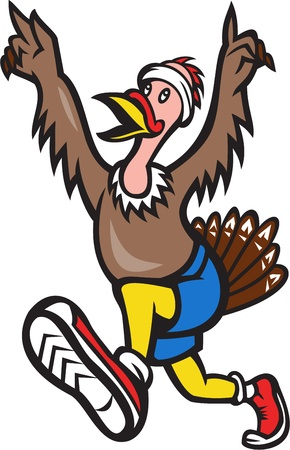 Illustration of a wild turkey run trot running runner raising hands in victory