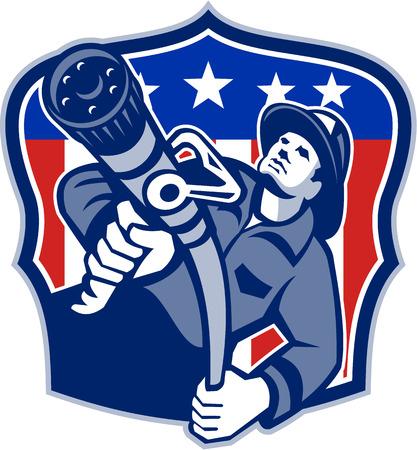 目指して、アメリカの消防士消防緊急労働者のイラスト消防ホースのレトロなスタイルで行われてアメリカ合衆国星条旗旗とシールドの内部セット  イラスト・ベクター素材