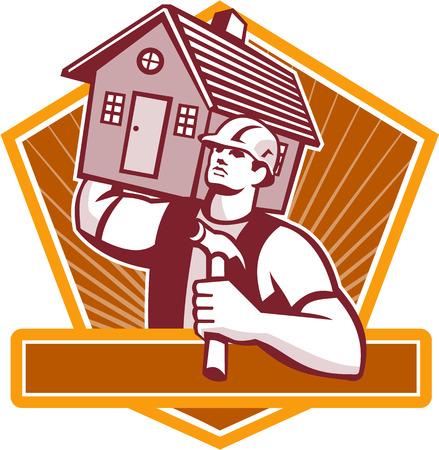 レトロなスタイルで行われるシールド内に設定の肩の上の家を運ぶハンマーでビルダーの建設労働者のイラスト。