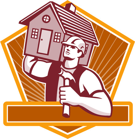 Illustration of a builder construction worker with hammer carrying house on shoulder set inside shield done in retro style. Illustration