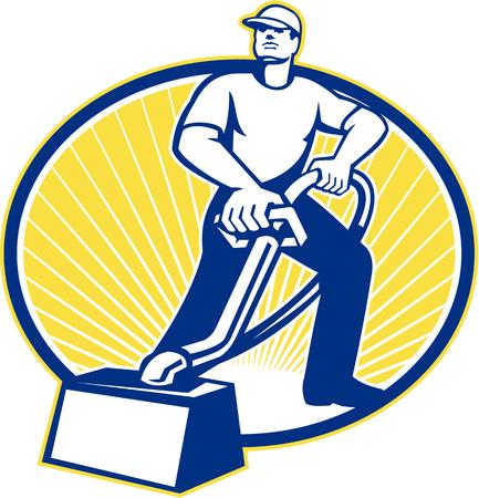 Ilustración de un limpiador de alfombras aspiradora trabajador con la máquina de limpieza de alfombras aspiradora se ve desde un ángulo bajo hecho en estilo retro. Ilustración de vector