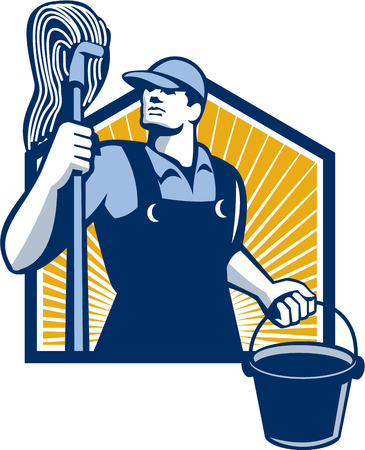 cleaner: Illustration of a janitor cleaner worker holding mop and water bucket pail viewed from low angle done in retro style.