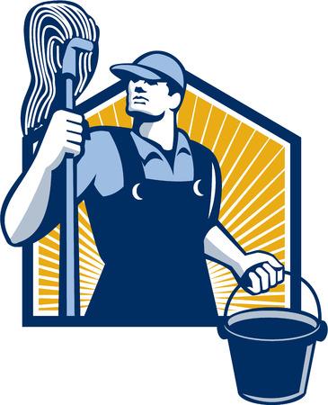 bucket water: Ilustraci�n de un conserje limpiador trabajador fregona y cubo celebraci�n cubo de agua se ve desde un �ngulo bajo hecho en estilo retro.