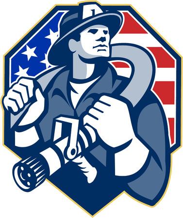 Illustration eines amerikanischen Feuerwehrmann Feuerwehrmann Notarbeitskraft Anschlagen einen Feuerwehrschlauch auf Schulter innerhalb Schild mit USA Stars and Stripes Flagge im Retro-Stil getan.