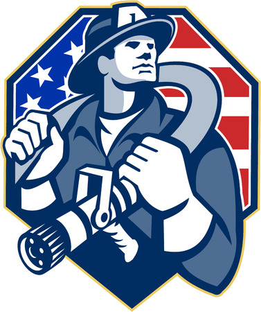 fire fighter: Illustration of an American fireman fire fighter emergency worker slinging a fire hose on shoulder set inside shield with USA stars and stripes flag done in retro style. Illustration