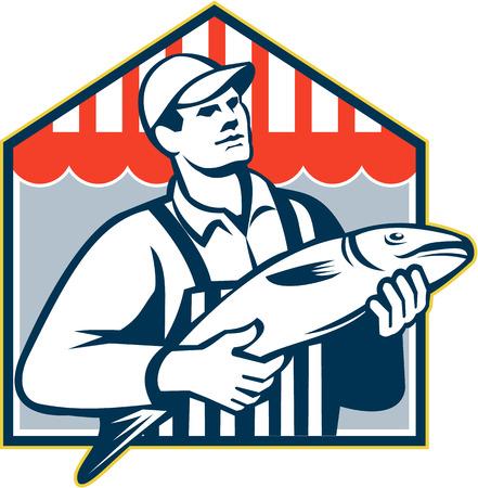 visboer: Retro-stijl illustratie van een slager visboer werknemer vissen naar voren gericht op geïsoleerde achtergrond gedaan in retro stijl.