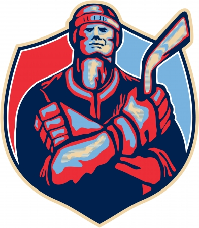 ice hockey player: Illustration of an ice hockey player holding stick with arms crossed facing front done in retro style.