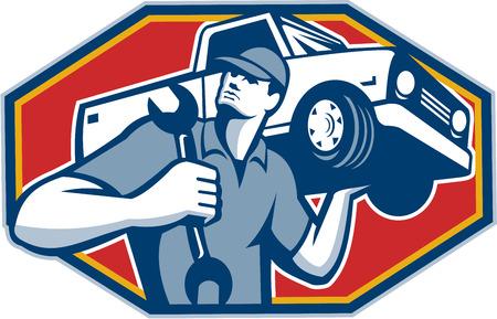 スパナ レンチのレトロなスタイルで行わを保持の肩にピックアップ トラック車車を運ぶ、自動車整備士のイラスト。