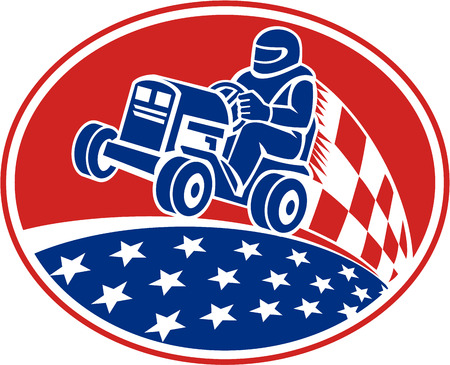 mower: Illustration of an American driver riding ride on lawn mower racing set inside oval with checkered racing flag and stars done in retro style. Illustration