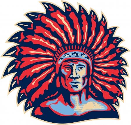chieftain: Illustrazione di un capo indiano nativo americano visto dal frontale in stile retr� su sfondo bianco isolato. Vettoriali