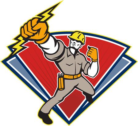Illustration eines Elektrikers Powerstörungssucherelektriker schwingende hält einen Blitz zugewandten Seite im Retro-Stil in isolierten weißen Hintergrund getan.