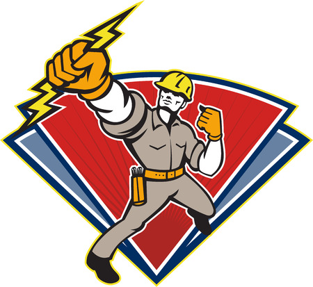 Illustration of an electrician power lineman wielding holding a lightning bolt facing side done in retro style in isolated white background. Ilustração
