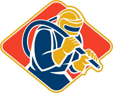 sandblasting: Illustration of a sandblaster worker holding sandblasting hose wearing helmet visor set inside diamond shape done in retro style.