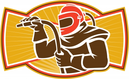 Illustration of a sandblaster worker holding sandblasting hose wearing helmet visor set inside oval shape done in retro style.