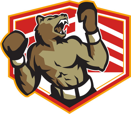 boxing ring: Illustration of an angry grizzly bear with gloves boxer boxing set inside crest done in retro style  Illustration