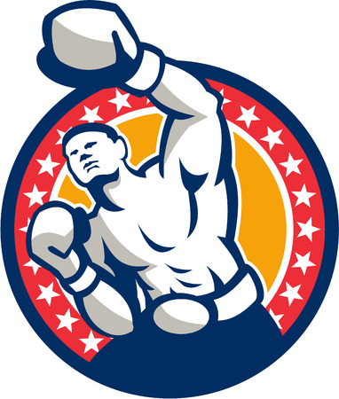 male boxer: Illustration of a boxer jabbing punching set inside circle with stars around done in retro style Illustration