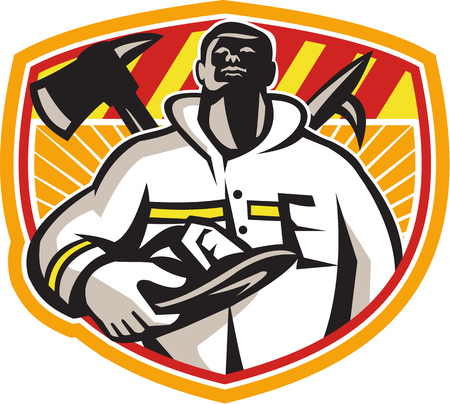 hook up: Illustration of a fireman fire fighter emergency worker looking up holding visor helmet with fire axe and hook pike pole crossed set inside shield done in retro style  Illustration