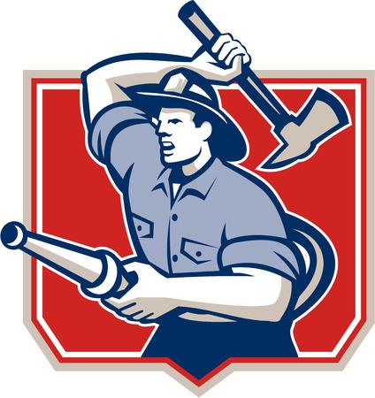 fire shield: Illustration of a fireman fire fighter emergency worker with fire hose wielding a fire axe set inside crest shield done in retro style
