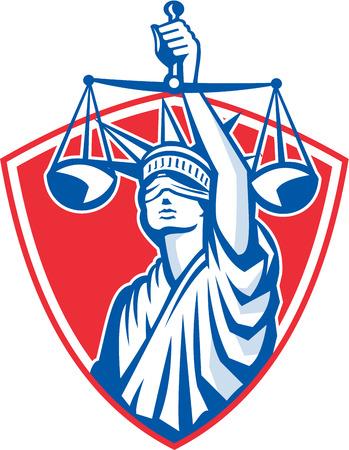 dama de la justicia: Ilustraci�n de la estatua de la se�ora de la libertad en frente con los ojos vendados frente sosteniendo balanzas de justicia establecidos dentro cresta escudo sobre fondo blanco aislado