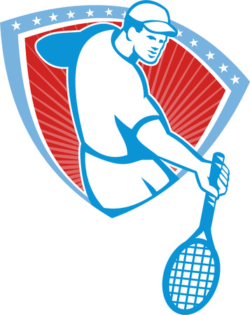 racquet: Illustration of a tennis player holding racquet set inside crest shield with stars on isolated background done in retro style  Illustration