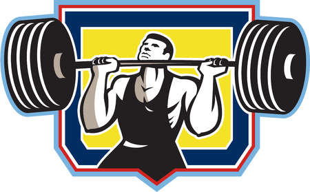 weightlifter: Illustration of a weightlifter lifting weights heavy barbell viewed from front set inside crest shield done in retro style