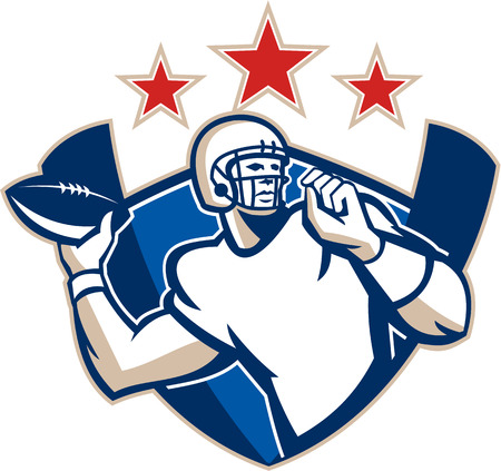 gridiron: Illustration of an american football gridiron quarterback player throwing ball facing side set inside crest shield with stars and stripes flag done in retro style.
