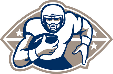 quarterback: Illustration of an american football gridiron runningback player running with ball facing front done in retro style. Illustration