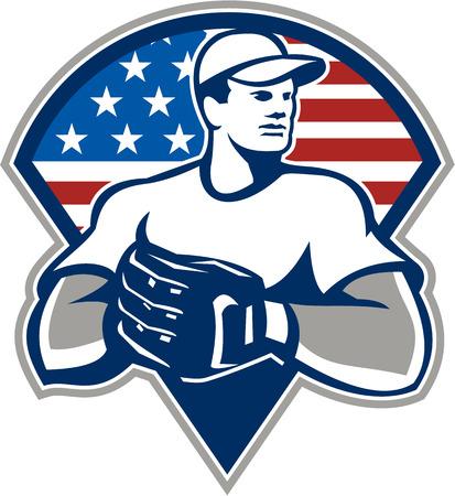 baseball diamond: Ilustraci�n de un jugador de b�isbol outfilelder lanzador americano con juego de guantes en el interior del tri�ngulo con las estrellas de Estados Unidos y la bandera rayas aislados en fondo blanco.