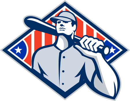 baseball diamond: Illustration of a american baseball player batter hitter holding bat on shoulder set inside diamond shape with stars and stripes done in retro style isolated on white background.