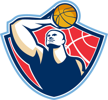 layup: Illustration of a basketball player rebounding lay up ball set inside shield crest done in retro style.
