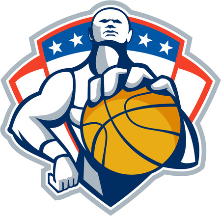 baller: Illustration of a basketball player holding facing front set inside shield crest with stars done in retro style.