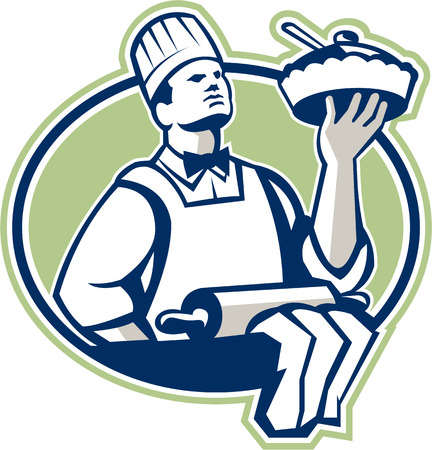 pastry chef: Illustration of a baker chef cook holding serving pie with roller in foreground set inside oval done in retro style.