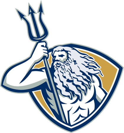 Illustration of Roman god of sea Neptune or Poseidon of Greek mythology holding a trident set inside shield crest on isolated white background.