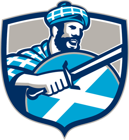 scottish: Illustration of a highlander scotsman wielding sword with Scotland flag on shield wearing tartan viewed from side set inside crest. Illustration