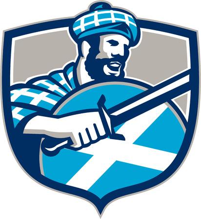 highlander: Illustrazione di un highlander scozzese che brandisce la spada con la Scozia bandiera scudo indossare tartan, visto dal lato impostato all'interno cresta.