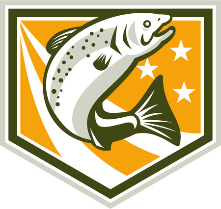 Illustration of a trout fish jumping set inside shield with stars and stripes marks done in retro style Vector