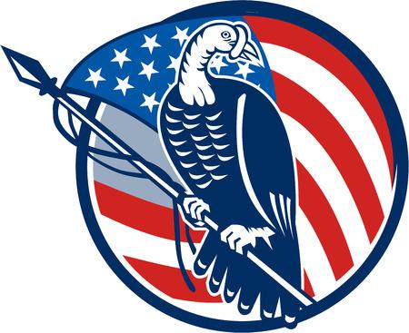 rúdon ülés: Illusztráció egy vad pulyka rúdon ülés az amerikai csillagok és csíkok zászló meg belülről körben végzett retro stílusban elszigetelt fehér háttér.