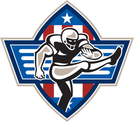 Illustration of an american football gridiron player placekicker kicking facing side done in retro style set inside stars and stripes ball .