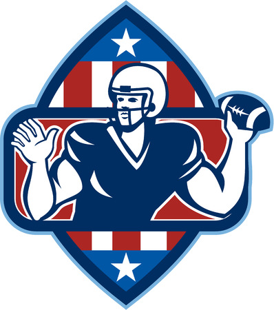 quarterback: Illustration of an american football gridiron quarterback player throwing ball facing side set inside crest shield with stars and stripes flag done in retro style.