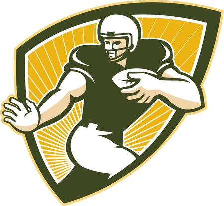 gridiron: Ilustraci�n de un campo de juego de f�tbol americano corriendo jugador corriendo con bal�n frente a frente hecho en estilo retro dentro de escudo.