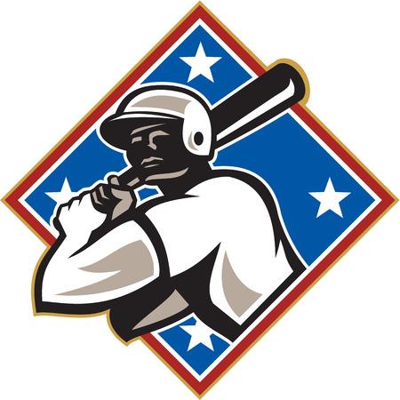 bateo: Ilustraci�n de un jugador de b�isbol americano bateador bateador bateo con el conjunto de murci�lagos en el interior en forma de diamante con las estrellas hecho en estilo retro aislado sobre fondo blanco.