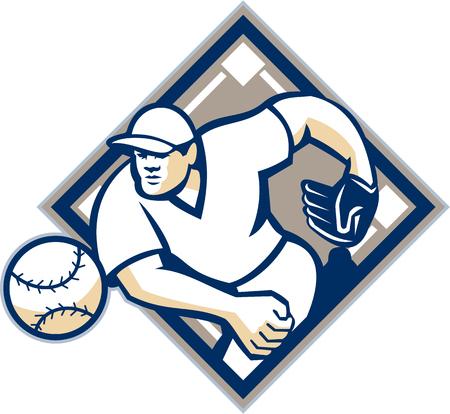 baseball diamond: Ilustraci�n de una pelota de b�isbol americano jugador lanzador outfilelder lanzar pelotas situada en el interior del diamante aislado en fondo blanco. Vectores