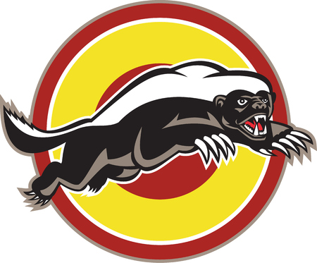 badger: Illustration of a honey badger (Mellivora capensis) mascot also known as ratel leaping viewed from side set inside circle on isolated white background.