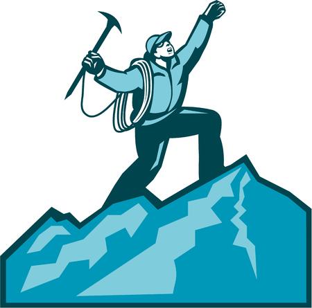 mountain climber: Illustrazione di alpinista scalare raggiungere la vetta celebra tenendo ascia di ghiaccio fatto in stile retr� xilografia.