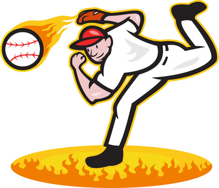 outfielder: Illustration of a american baseball player pitcher outfielder throwing ball on fire isolated on white background.