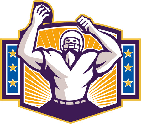 scat: Illustration of an american football gridiron wide receiver running back player celebrating a touchdown facing front set inside shield crest with stars and sunburst done in retro style on isolated background.