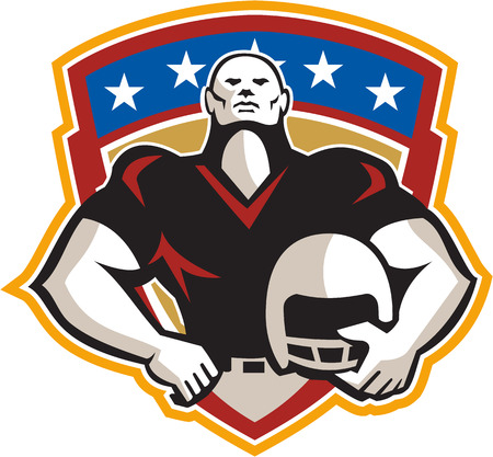 american football helmet set: Illustration of an american football gridiron tackle linebacker player hand on hip holding helmet facing front set inside crest shield with stars done in retro style.