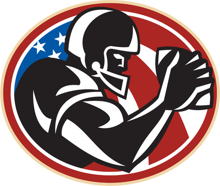 scat: Illustration of an american football gridiron wide receiver running back player running with ball facing side set inside oval with stars and stripes flag done in retro style set inside ball .